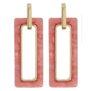 NWT Peach Rectangle Earrings